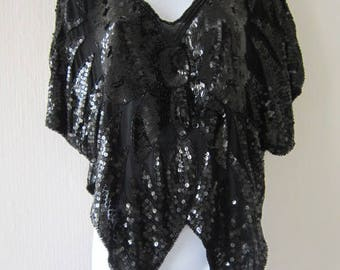 Sequin Black Butterfly Vintage Top