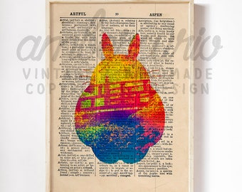 Take Me to Totoro Original Studio Ghibli Inspired Art Print on an Unframed Upcycled Bookpage