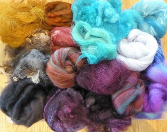 Hope Jacare - Mixed wool pack- custom blended top -  120g hand dyed top and fleece  - MWP28