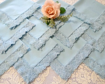 Light Blue Dinner Napkins with Lace Trim, Cotton Polyester Blend, Set of 11,  Lacy Napkins,  Vintage Table Linens by TheSweetBasilShoppe