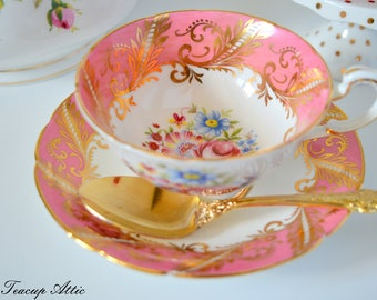 ON SALE Paragon Pink and White E104D Pattern Teacup and Saucer Gold Garland, English Bone China Teacup, Cabinet Teacup, ca. 1960-1963