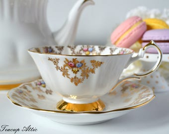 Queen Anne White Teacup and Saucer Set With Multicolored Flowers, English Bone China Tea Cup And Saucer, ca. 1950