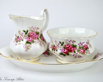 Royal Albert Lavender Rose Cream and Sugar Set With Tray, Replacement china, ca. 1960