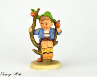 Hummel Goebel Apple Tree Boy  Figurine, Vintage Trademark 3 West German Figurine With TMK 3 Stylized Bee, Hummel 142 ca. 1958-1972