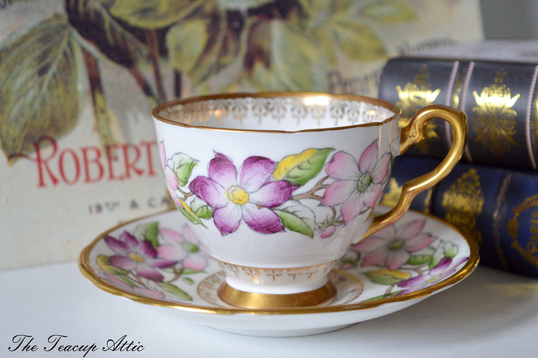 Royal Stafford Clematis Teacup and Saucer Set, English Bone China, Tea Party, Wedding Gift, ca. 1950