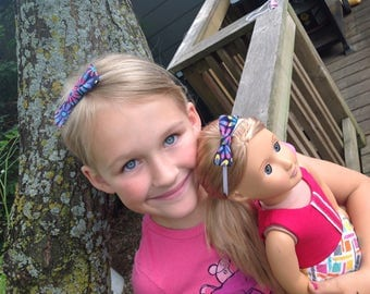 Me and my doll headbands, matching dolly and me headbands, bows, elastic head bands