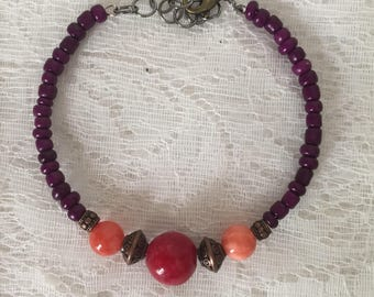 Red Dyed Quartzite Beaded Memory Wire Bracelet
