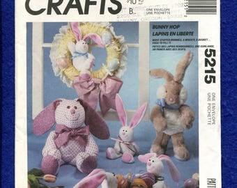 McCalls 5215 Big Ear Bunnies Stuffed Animals Pattern UNCUT