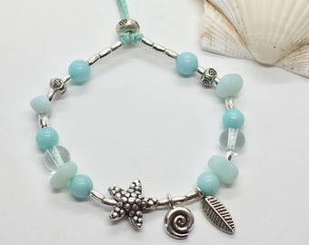 silver hill tribe bracelet, aqua starfish boho jewelry, gift for her