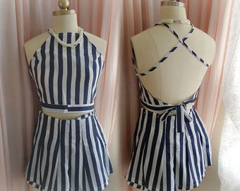 Boho Bohemian blue and White Striped Halter Crop Top + Shorts Romper Chiffon beach wear summer  Romantic Angel