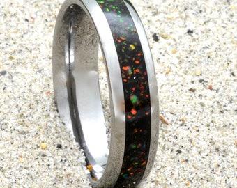 Opal Inlay Wedding Band Tungsten 6mm Half Round for Men or Women