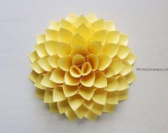 nursery wall decor || 7'' dahlia wall decor || paper dahlia || wedding flower | origami gifts || dahlia wall art -pale yellow