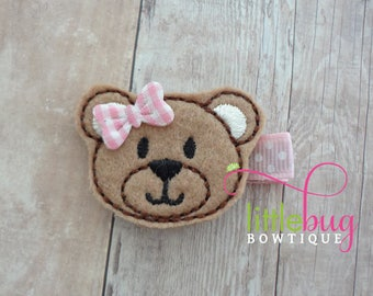 Teddy Bear Hair lip, Bear Hair Clip, Teddy Bear Hair Bow, Pink Teddy Bear, Teddy Bear Barrette, Girls, Baby, Toddler, Newborn, Birthday