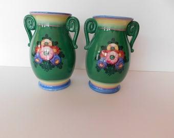 Alpine Bavaria Hand Painted Pair of Vases - Art Pottery - Beautiful Colors, Beautiful, Design - Very Unusual Find