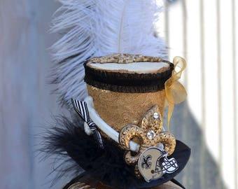 New Orleans Saints hat - Saints Top Hat - NOLA - New Orleans - Football Hat - Steampunk Hat - Top Hat - Geaux Saints.