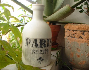 Vintage painted clay ceramic  bottle with very shabby old style Paris transfer image,8 1/4'' h.