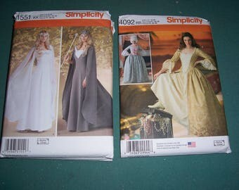 Simplicity 1551 or Simplicity 4092..Uncut Misses' Medieval Fantasy & 18th Century Cosplay Costumes..Gowns..Costume Dress Patterns..