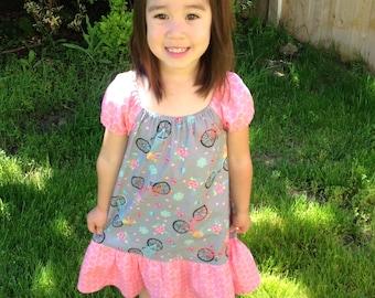 Girl Peasant Dress, Toddler Peasant Dress, Girl Dress, Toddler Dress, Little Girl Dress, Girls Bike Dress, Handmade Dress