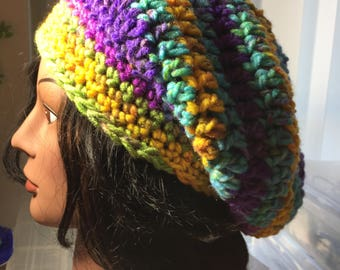 Ready to ship,Colorful Crochet Slouch Hat,Mini Slouch, Casual,women,teen,beanie,knit,Handmade,Slouchy, beanie,Year round,Hippie,Boho,Beret