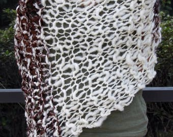 XMAS IN JULY up to 50%off Hand Knit Bulky Shawl Poncho, in Natural Colors of Ivory and Brown mix, made of Super Soft Handspun Wool Yarn