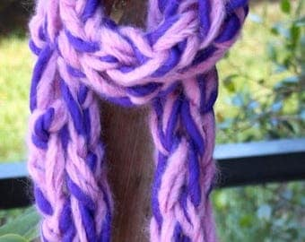 XMAS IN JULY up to 50%off New Bulky Hand Knit Purple and Pink Scarf,  of Super Soft Handspun Hand Dyed Yarn with a bit of Mohair