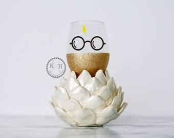 Harry Potter Glasses Glitter Wine Glass, Harry potter, Harry Potter wine glass, Harry Potter wedding gift, Harry Potter Birthday Gift