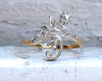 Antique Floral 18K Yellow Gold Diamond Cluster Ring Engagement Ring.