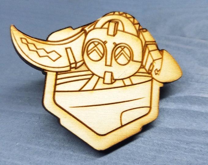 Orisa Overwatch Pin   Laser Cut Jewelry   Wood Accessories