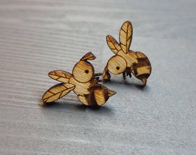 Cute Bee Earrings | Laser Cut Jewelry | Hypoallergenic Studs | Wood Earrings
