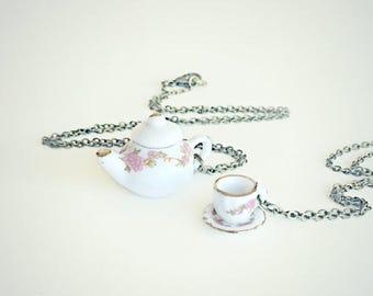 VACATION SALE tea pot and tea cup friendship necklaces, teapot necklace, tea cup necklace, floral tea pot, tea accessory, tea necklace, tea