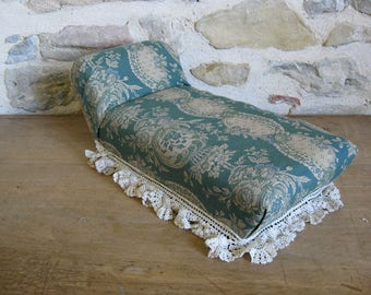French doll's chaise longue, handmade miniature toy day bed
