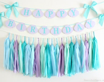 Under the Sea Mermaid Inspired Birthday Banner Tissue Paper Tassel Garland- First Birthday, 1st Birthday, One Year Old Party Decorations