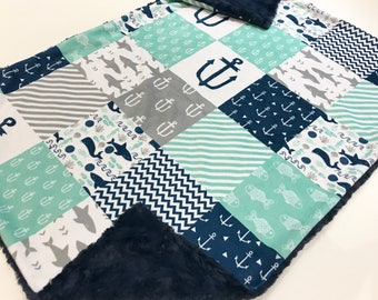 Navy Mint and Grey Nautical Minky Baby Blanket