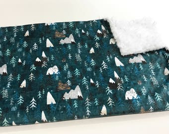 Teal Grey Mountain Baby Blanket, Forest Peaks Baby Bedding, Baby Boy MINKY Blanket, Ready to Ship, Baby Showet Gift, Faux Fur Minky Blanket