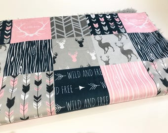 Pink and Navy Blue Deer Baby Girl Blanket. Baby MINKY Blanket, Grey Baby Bedding. Faux Fur Baby Blanket, Personalized Baby Girl Blanket