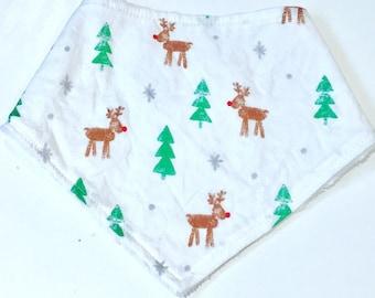 Baby Bandana Bib, Christmas Trees Baby Bib, Rudolph Reindeer Christmas Bandana Bib, Drool Bib, Deer Bandana Bib, Baby Shower Gift