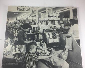 Inge Morath Photo Print on Cardboard; Sixties Grocery Store Checkout
