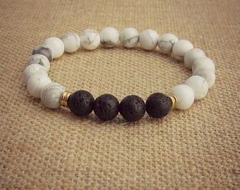 White Howlite Bracelet • Aromatherapy • Lava Stone • Oil Diffuser Stone • Aromatherapy Bracelet • Essential Oil Bracelet • Healing Bracelet