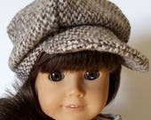 """This Adorable Wool Tweed Newsboy Cap Fits 18"""" Doll Clothes fits American Girl also fits 15"""" Bitty Twins Bitty Baby"""