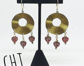 Gold chandelier earrings, red heart earrings, Valentine's day earrings, handmade, ready to ship jewelry, gifts for women, free shipping
