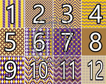 Purple and Gold (Yellow) pattern printed indoor, outdoor, glitter, & metallic decal VINYL or heat transfer vinyl HTV or applique FABRIC