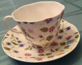 Vintage Queen's Country Meadow Floral Rosina Chintz Tea Cup and Saucer England
