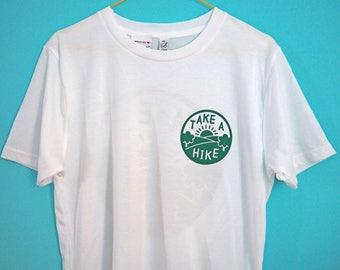 Take a Hike Double Sided T-shirt, Emblem T-shirt, Back Printed T-shirt, White Cotton Tee, Hiking Print, Adventure Motif, Screenprinted Top