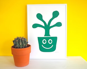 Happy Plant Screen Print, Houseplant Print, Succulent Art, Plant Poster, Green Plant Screenprint, Cute Fun Nursery Art, Plant Lady Print