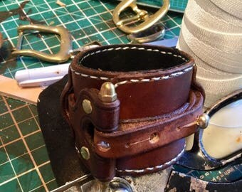 Steampunk Patton industrial cuff lined in suede
