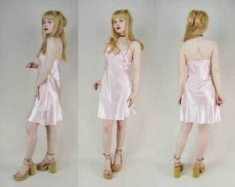 90s Soft Grunge Pastel Pink Satin Babydoll Mini Dress S / M