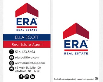 no photo ERA real estate business cards - thick, color both sides - FREE UPS ground shipping