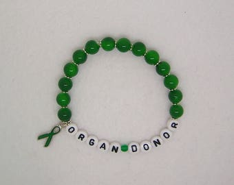 Organ Donor, Kidney Donor, Kidney Transplant, Awareness, Awareness Ribbon, Celiac, Liver Cancer, Bracelet, Leukemia, Stem Cell Donor