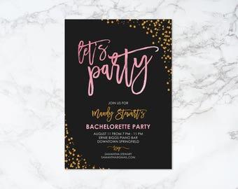 Printable Let's Party Confetti Theme Bachelorette Invitation