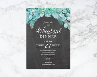 Printable Succulent and Chalkboard Theme Rehearsal Dinner Invitation